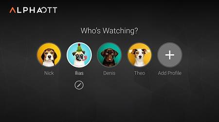 Perfiles en la aplicación Android TV